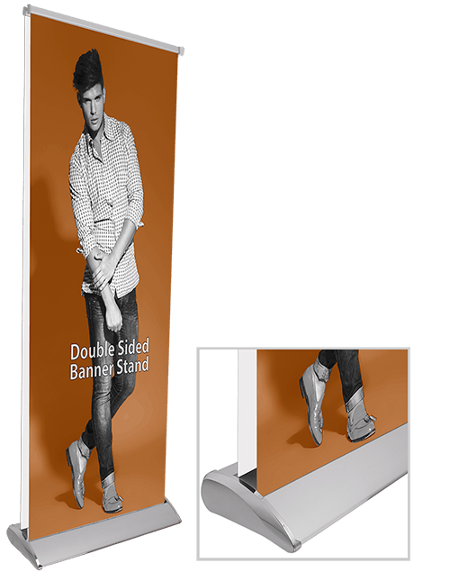 Double Sided Banner Stand base with Printed Graphic