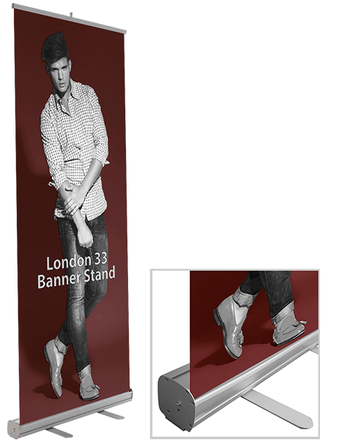 London 33 Banner Stand Base with Printed Graphic