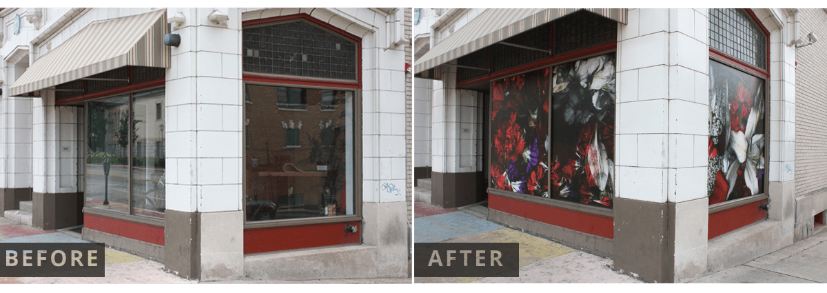 adhesive, vinyl, window, wrap, before and after, installation