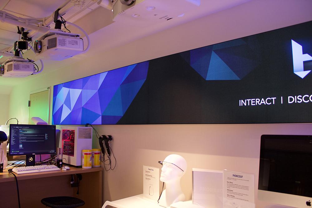 Backlit SEG Fabric signage backlit fabric SEG frameless edgeless LED University signage stretch fabric tension silicone edge graphics