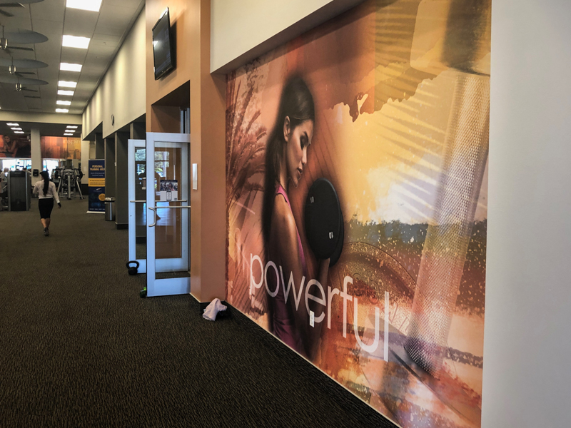 textured wall vinyl graphics vinyl adhesive rough wrap application gym signage sign retail display fitness printed fitness gym graphic motivational artwork