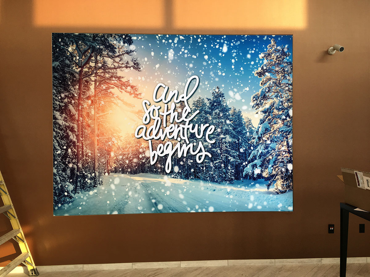 Fabric printing wall inset recessed frame LED lights SEG silicone edge graphics marketing retail sign signage dye sublimation