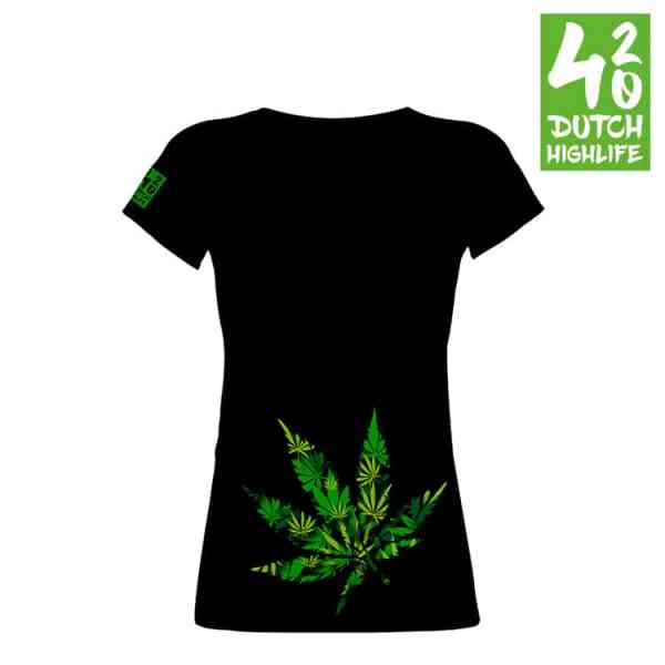 420 Dutch Highlife T-shirtBig Weed dames voorkant