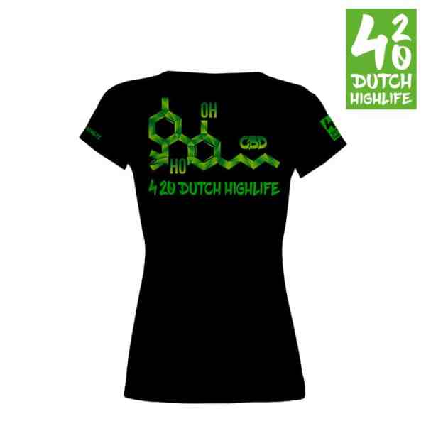 420 Dutch Highlife T-shirt Molecule Dames achterkant