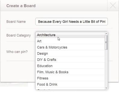 Pinterest-board toevoegen