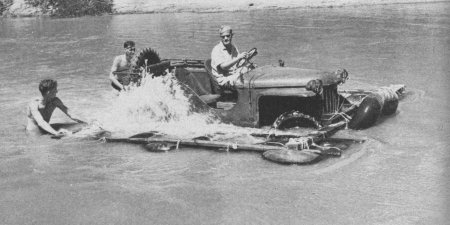 A Bantam BRC-60, one of the original 70 jeeps built, being put through its' paces by going for a swim.