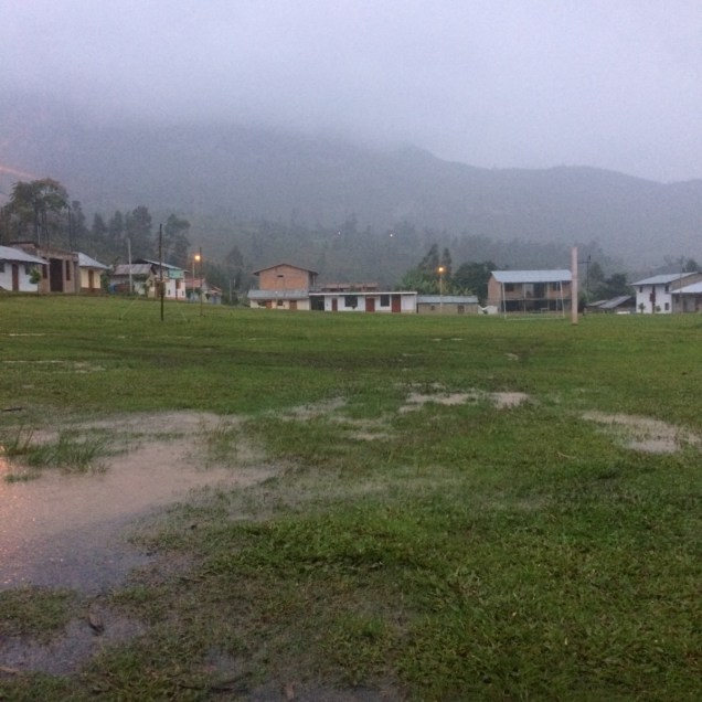 Rainy campsite in the town's municipal field.