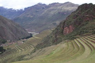 Looking down the Sacred Valley from the ruins of Pisac.