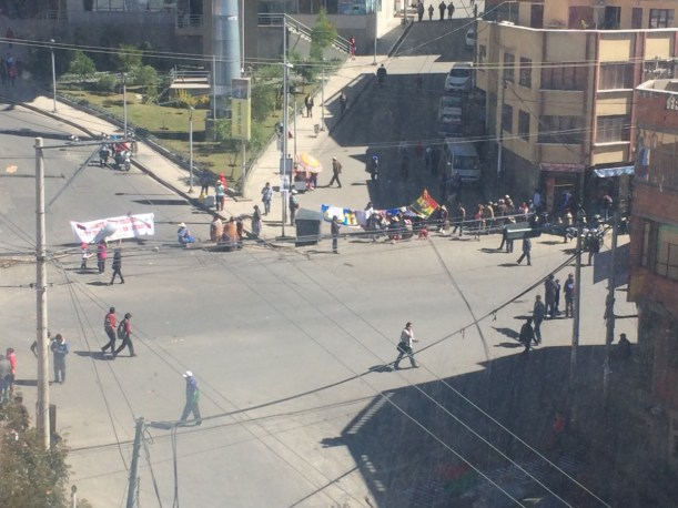 View of one of that day's blockades.