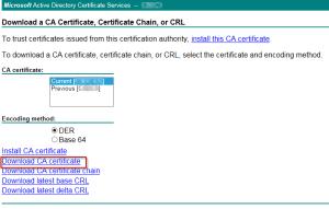 Downloading a copy of the CA Certificiate