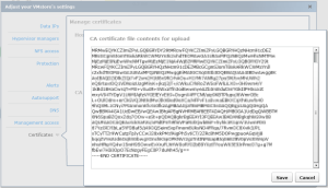 Pasting the new CA certificate into Tintri OS
