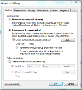 Veeam Backup Job Advanced Settings