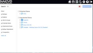 NAKIVO 7.4 Search