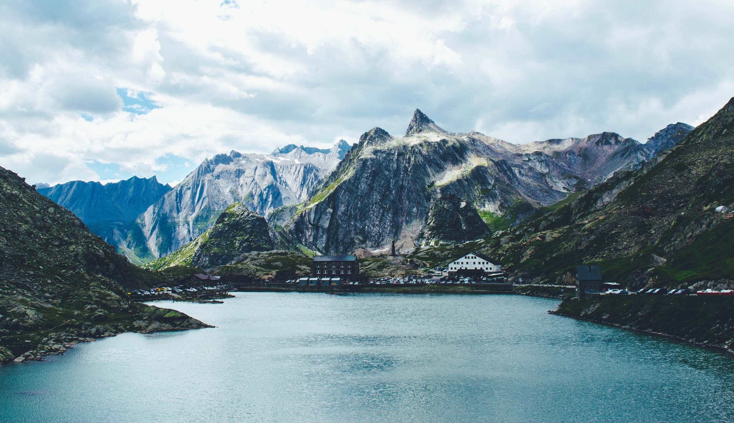 Photo of a mountain with a lake
