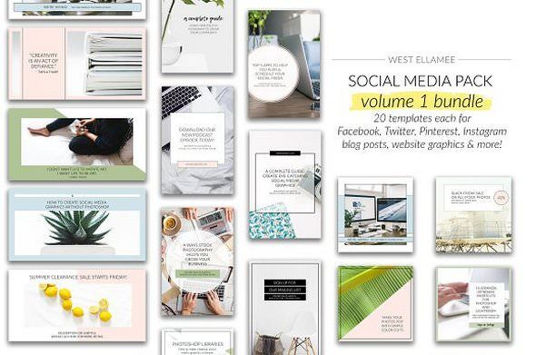 CreativeMarket - Volume 1 Bundle For Social Media 1949212