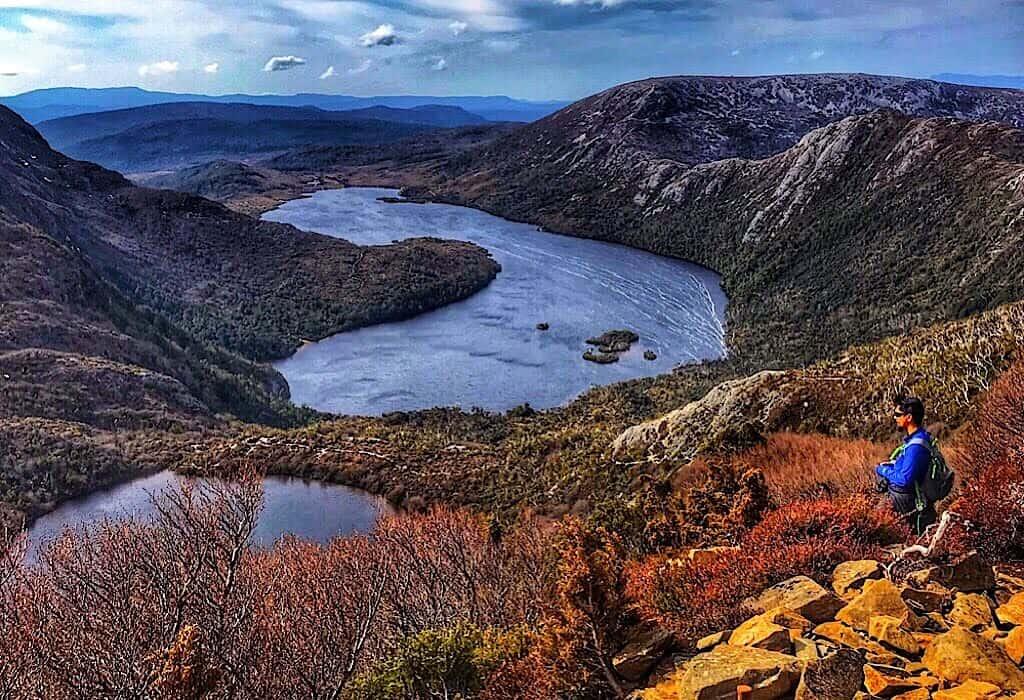 Looking over Dove Lake from Cradle Mountain in Tasmania Australia