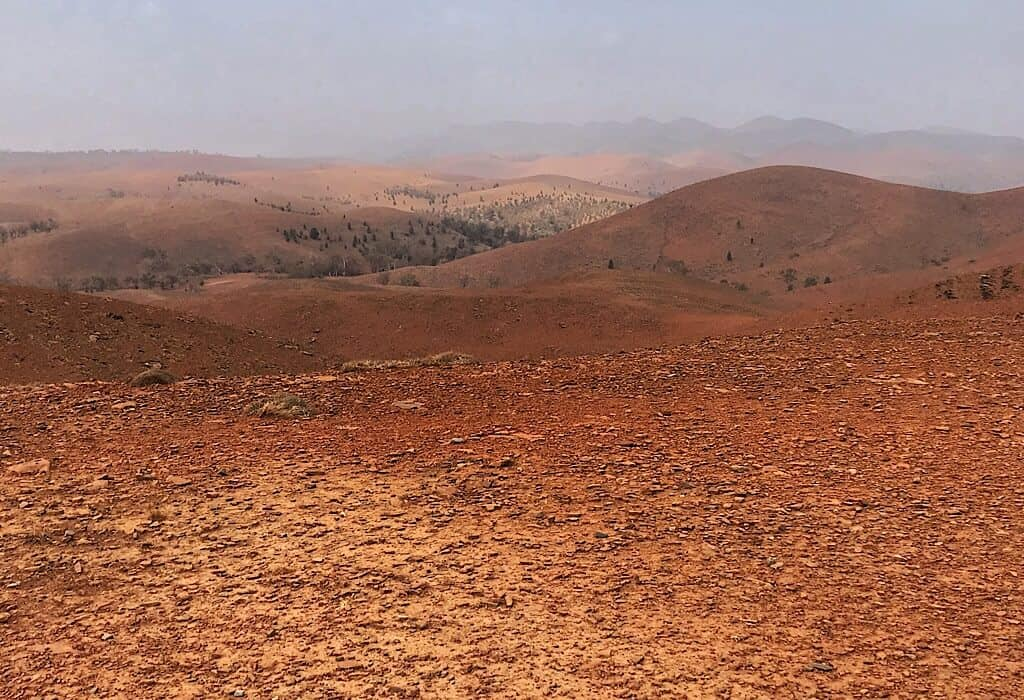 Viewpoint from the drive around the Flinders Range looking into the red center of Australia