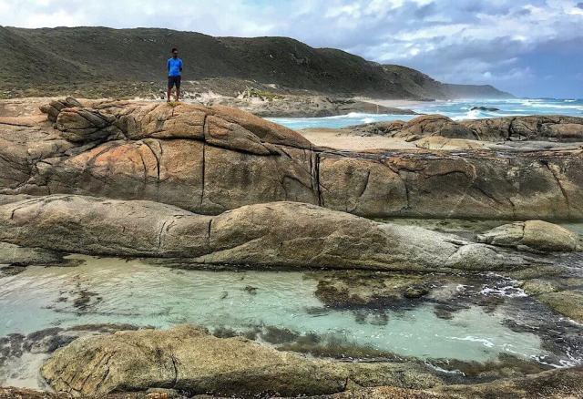 Clear rock pools on Ocean beach near Windy Harbor