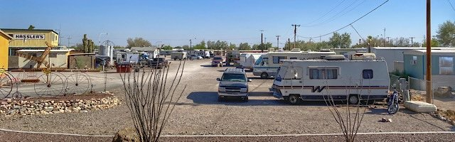Paid campground with rows of RV's