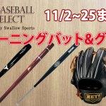 【告知!】11月イベント!トレーニングバット、トレーニンググラブ大集合!