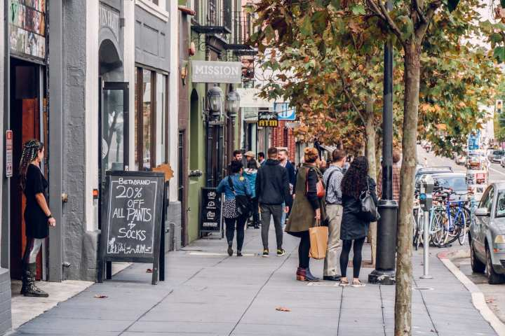 People walking on Valencia Street