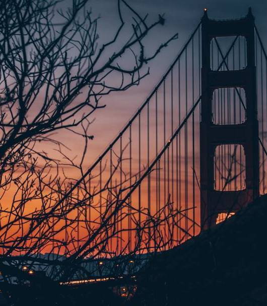 Golden Gate Bridge at dusk. Photo: infamousdjrebel, Instagram.