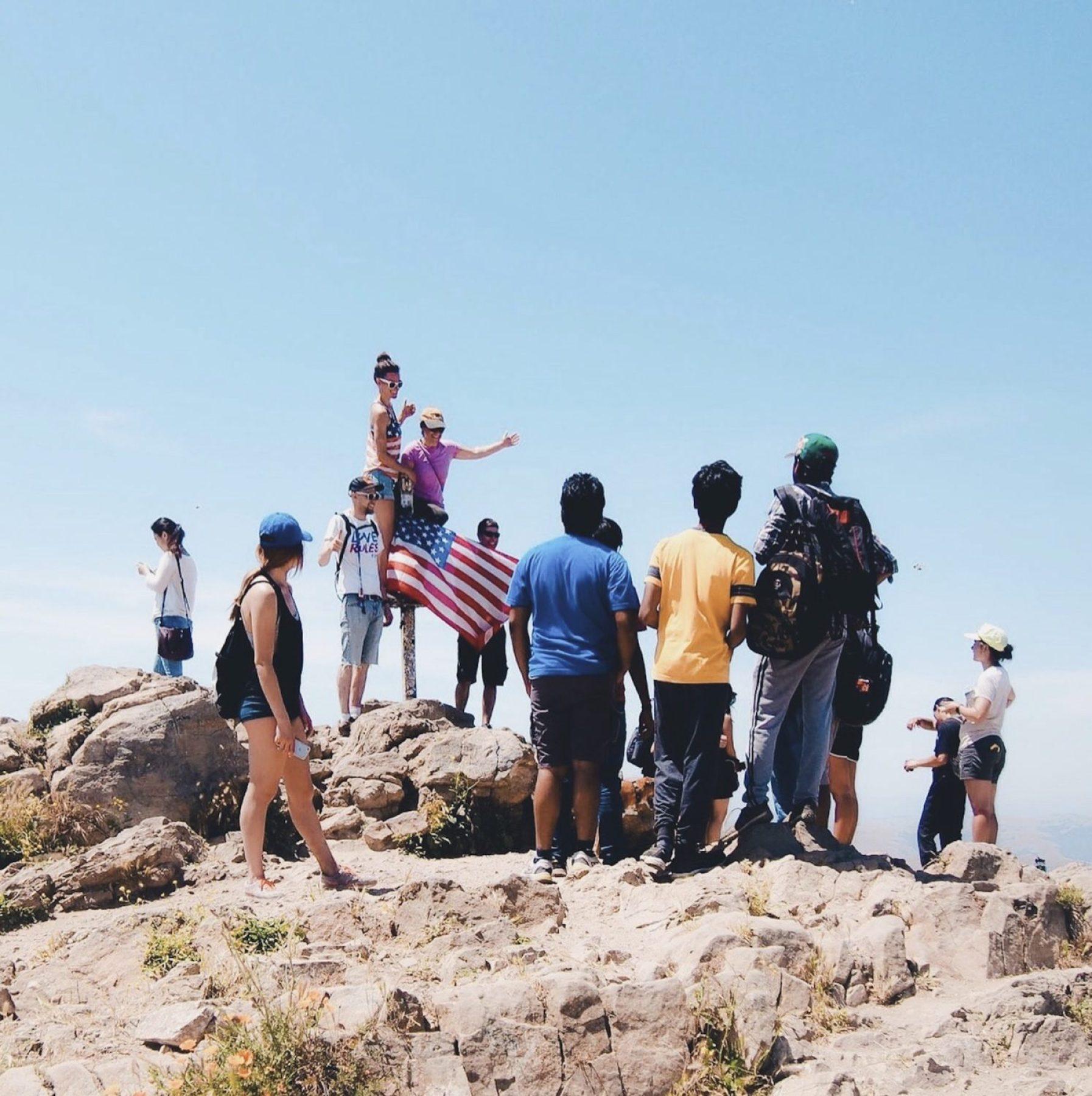 """""""Mission Peaker"""" pole atop Mission Peaks. Photo: Justin Wong, 49miles.com."""