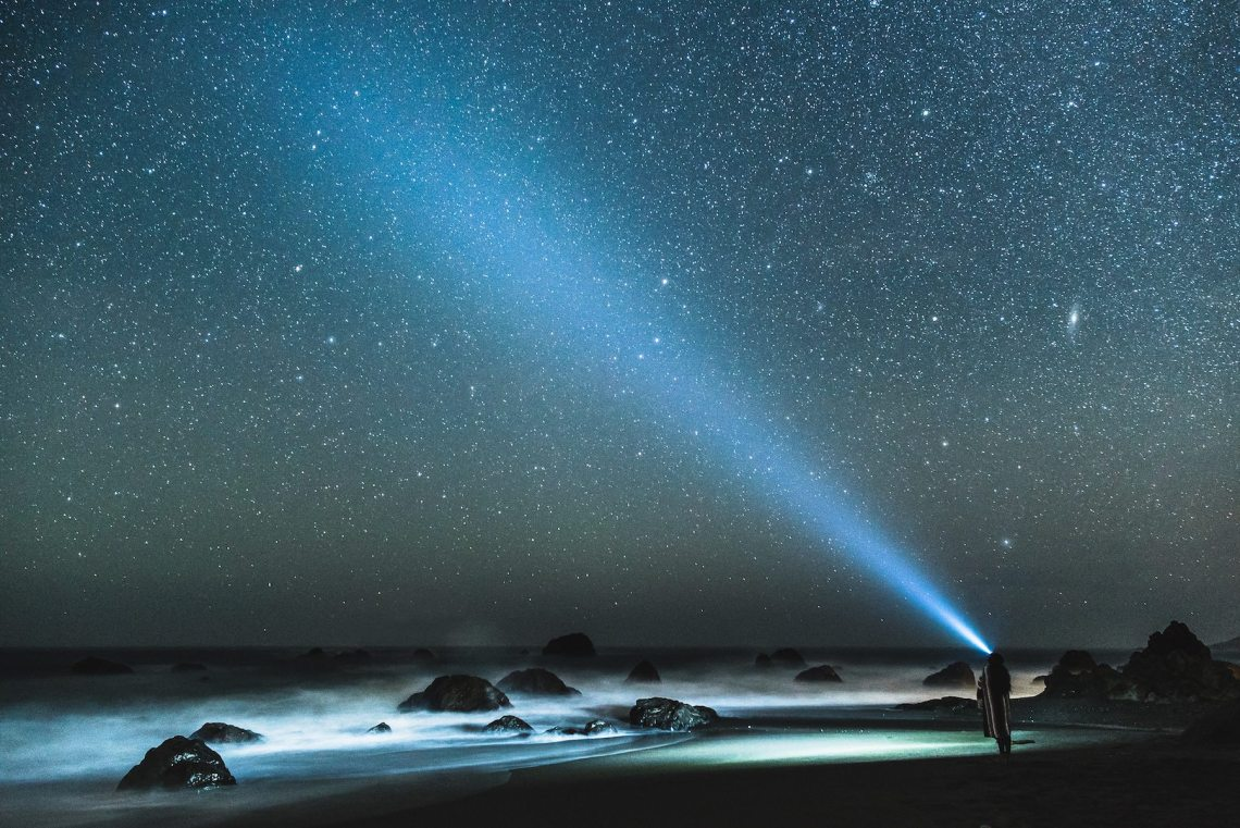 """My friend Sheila and I drove up Highway One in search of stars and stopped at a rocky beach to do some long exposure headlamp shots. This one is my fave."" Photo: Jake Landon, @jakelandon. #SFGuide Featured Photographer."