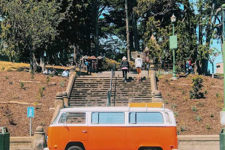 Volkswagen hippie van at Alamo Square Park in San Francisco