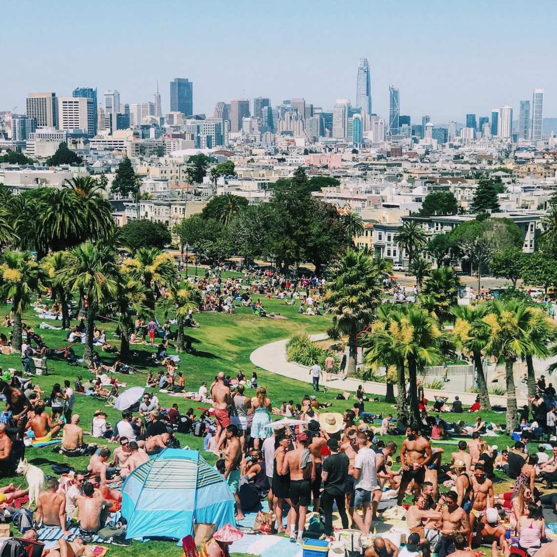 San Francisco's Dolores Park on a warm, sunny day.