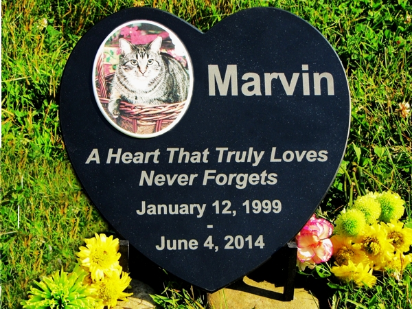 Laser Engraved Black Granite Heart Memorial With Porcelain Tile