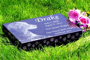 Premium Absolute Black Granite Memorials<br />With Paw Print Edging