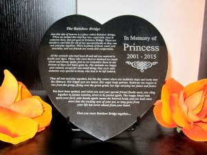 Rainbow Bridge Granite Heart Plaque
