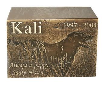 Photographic Bronze Urn Pet Memorial Stones Pet Grave