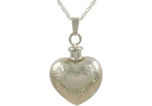 Double Heart Etched Pendant