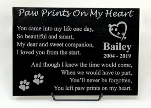 Paw Prints On My Heart Marble Plaque