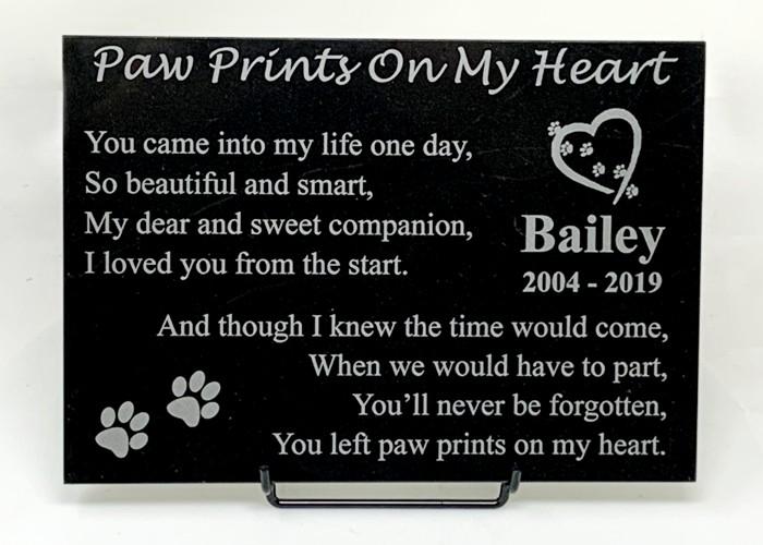 Paw Prints On My Heart Marble Plaque Pet Memorial Stones