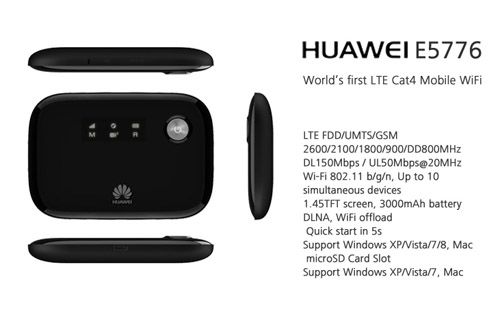 Huawei E5776 4G 150Mbps LTE Mobile Hotspot Specs