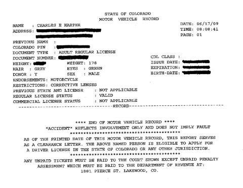 Colorado Driving Record Citations Source Vehicle