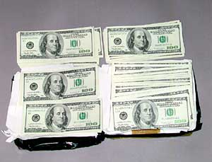 Photograph of the $50,000 recovered