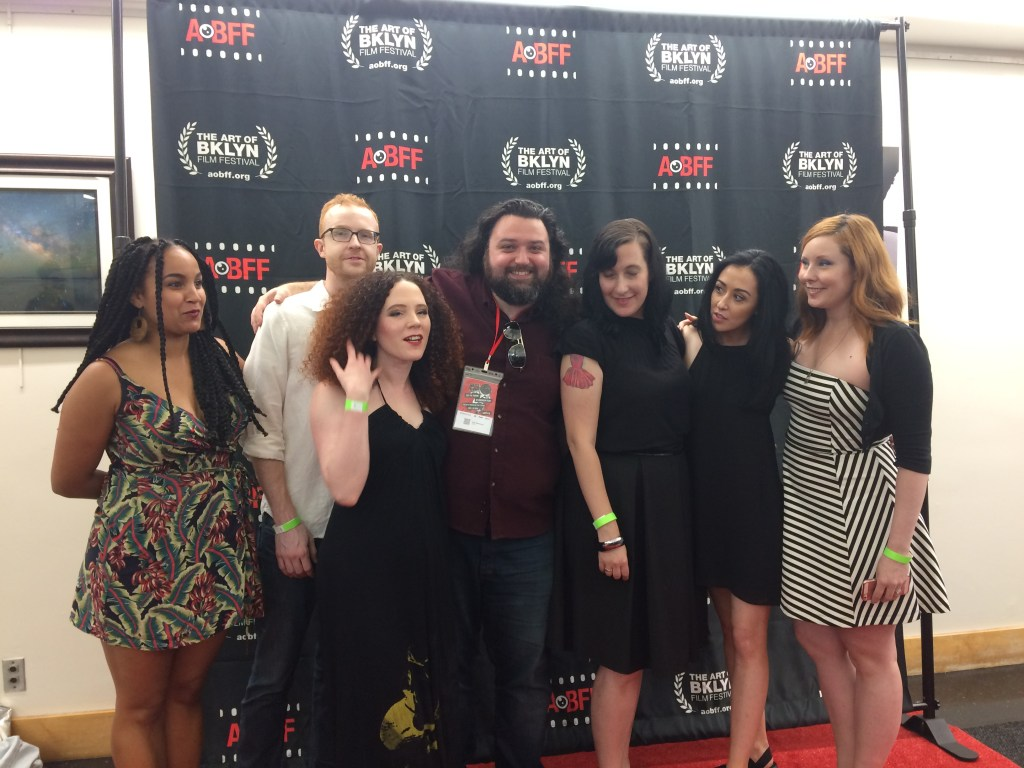 L - > R Rory Lipede, Alex Bone, Sarah Schoofs, Sean Mannion, Nicole Solomon, Tara Cioletti, and Kitty Ostapowicz posing for a photo at the premiere