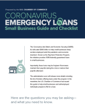 Prepared by the U.S. Chamber of Commerce this is a comprehensive guide and checklist for the Paycheck Protection Program.  100% federally guaranteed loans for small businesses. Eligible are small businesses, 501(c)(3), Sole Proprietors, independent contractors, self-employed, Tribal business, and 501(c)19 Veterans Organizations