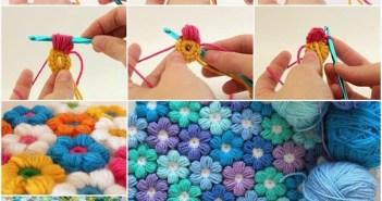 مفرش من الكروشيه شكل وردات لطفلك بالصور