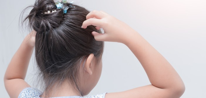 little girl hand itchy scalp on gray background Hair care concept