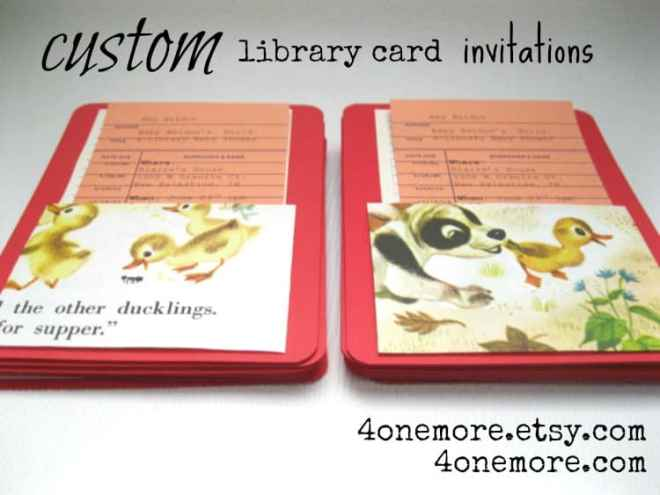 custom library card invitations 4onemore
