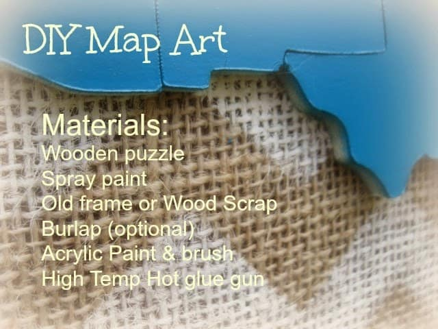DIY map art up cycled puzzle @4onemore.com