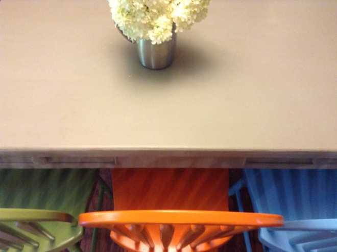 painted dining room table & chairs @4onemore.com