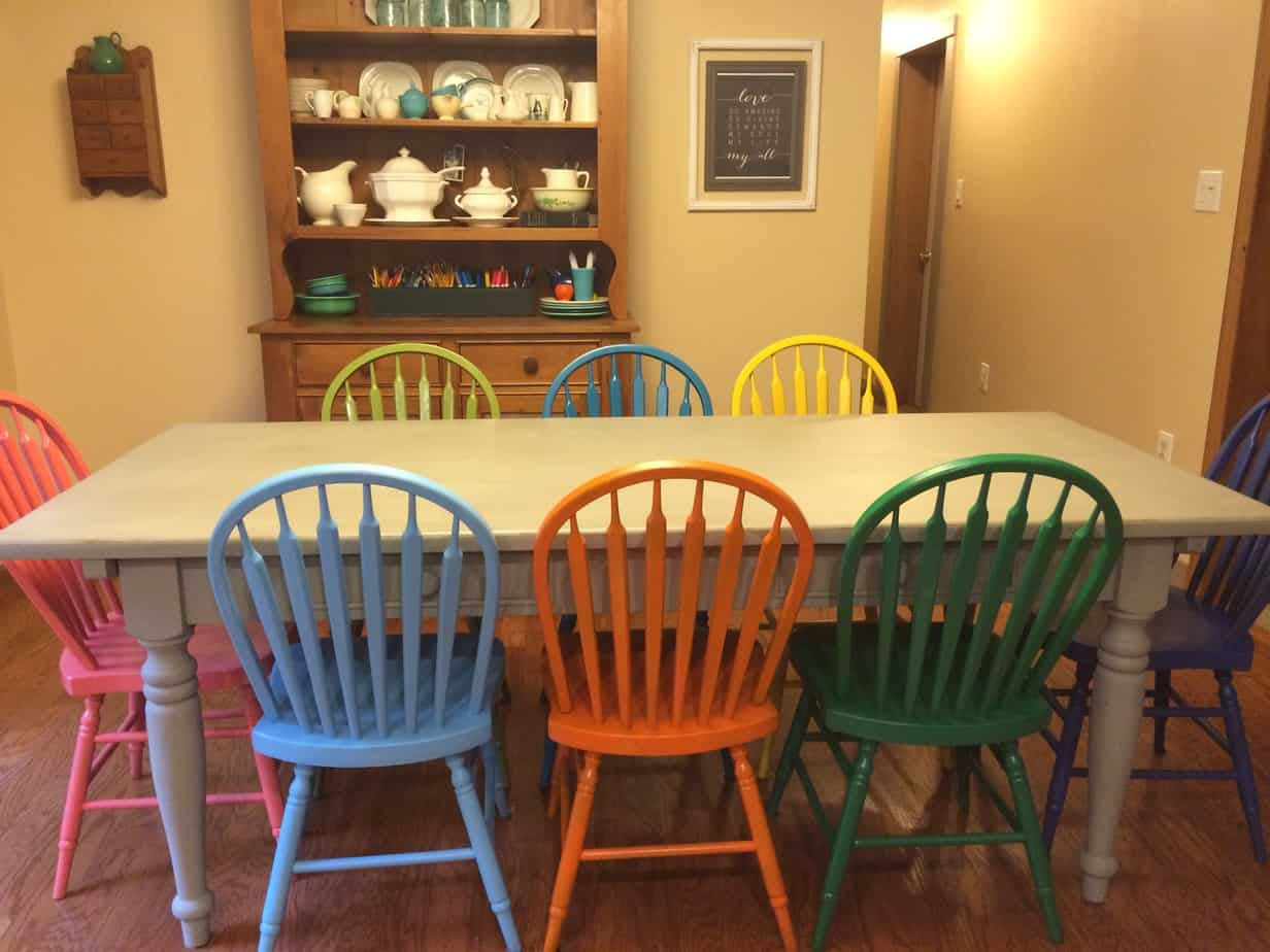 Painted Kitchen Table Colorful Painted Kitchen Table And Chairs Making Room 4 One More