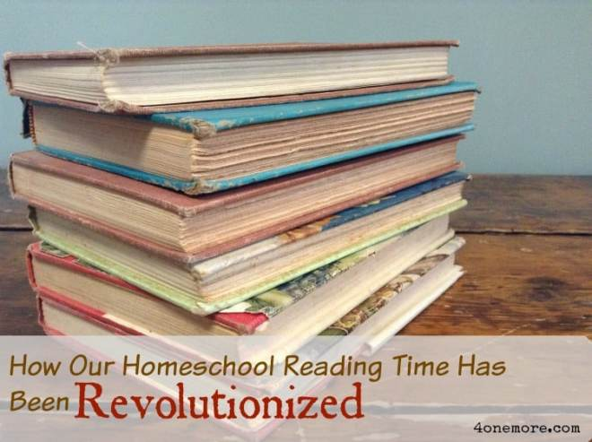 Homeschool reading time @4onemore.com