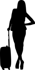 Geschäftsfrau mit Businesstrolley